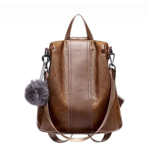 94533b258622 JeHouze Fashion Women Handbag Genuine Leather Backpack Casual Shoulder Bag  Anti-theft purse(Brown)