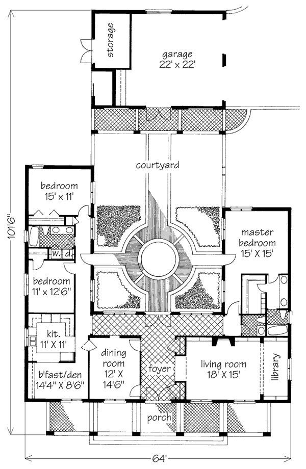 New Orleans Style House Plans Courtyard Courtyard House
