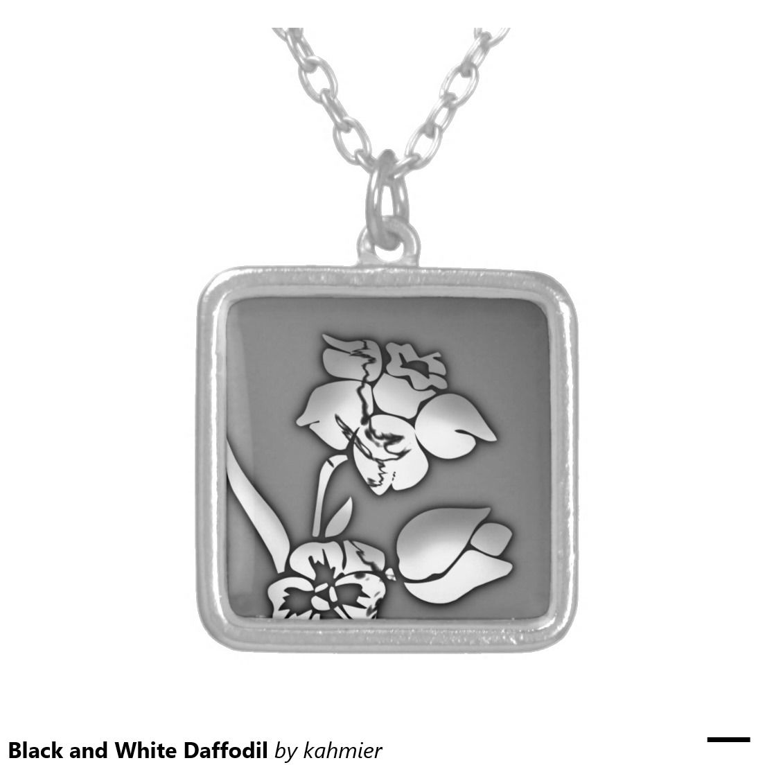 Black and White Daffodil Square Pendant Necklace