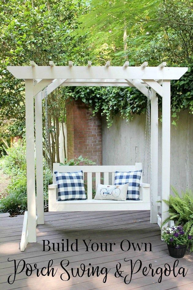 DIY Porch Swing U0026 Pergola   Free Building Plans #pergolaplansfree | Pergola  Kits And Plans | Pinterest | Diy Porch, Pergolas And Porch Swings