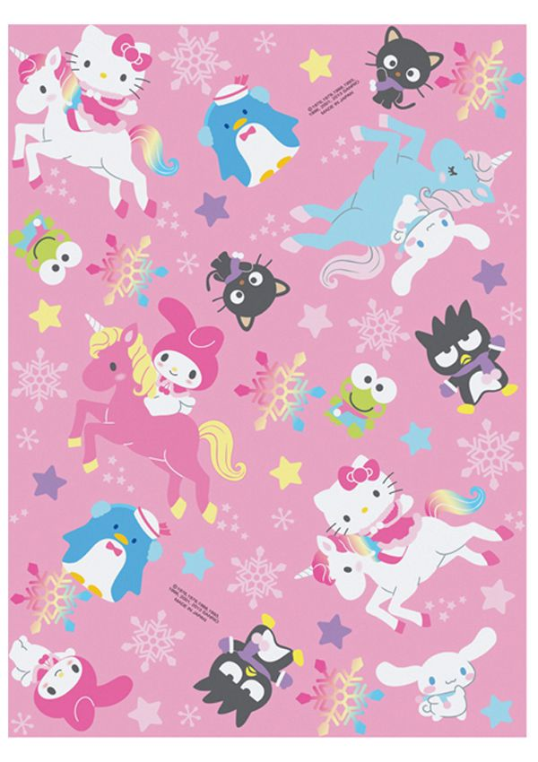 New Holiday Sanrio Hello Kitty Unicorn 5pc Gift Wrapping Paper