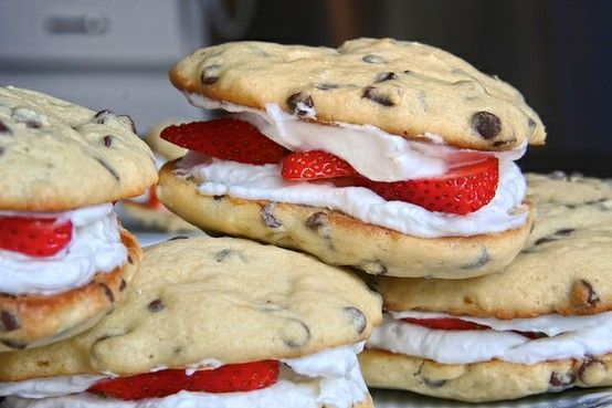 Chocolate Chip Whoopie Pies with Strawberry Whipped Cream Filling-Yum! by esther