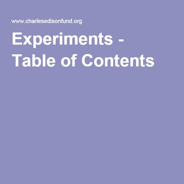 Experiments - Table of Contents