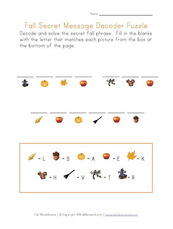 Autumn Puzzle Worksheet - Decode the Secret Fall Message