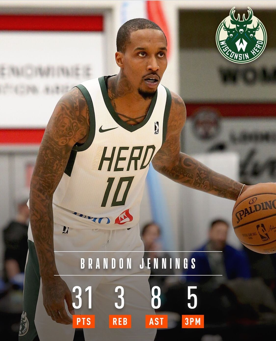 c9e81366d50 Brandon Jennings back from China and back to Milwaukee playing with the  Herd. Not to bad of a debut