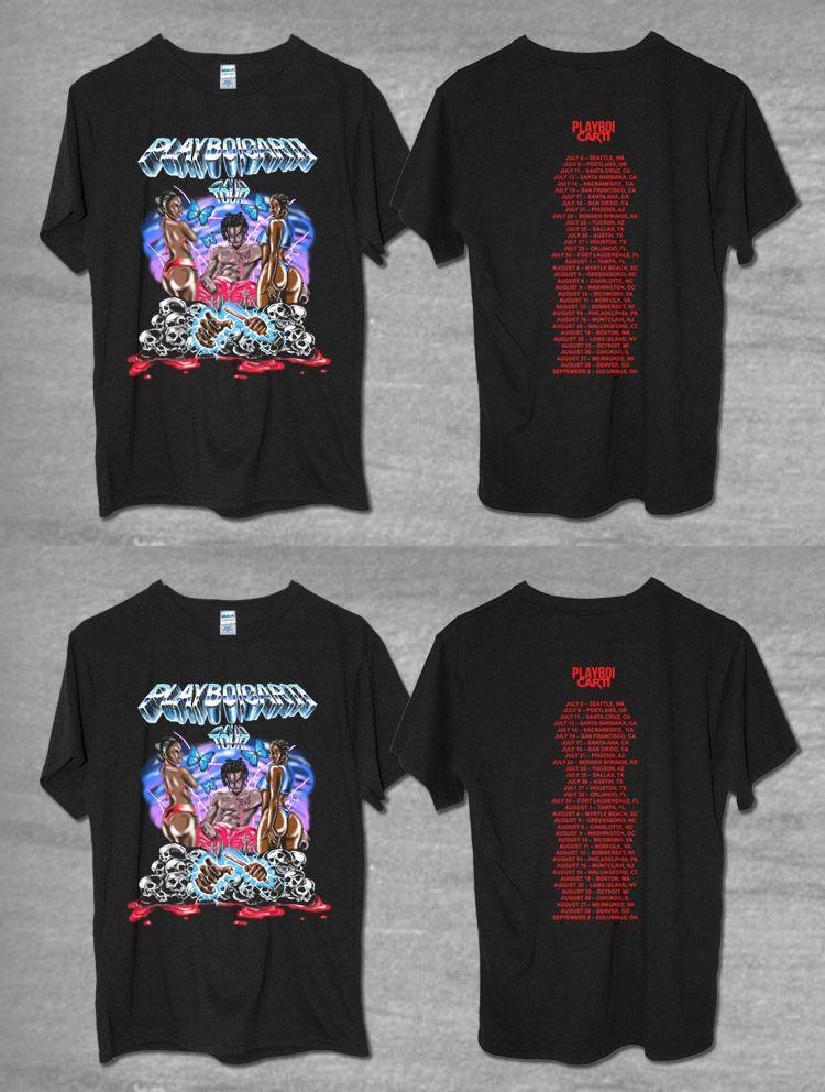 9251094a6 T-Shirts 155193: New Playboi Carti Tour Shirt 2017 Black T Shirt 100 ...