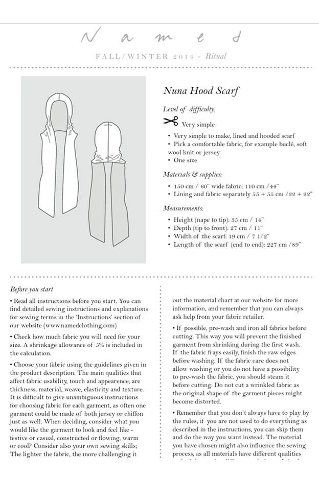 Nuna Hood Scarf Sewing Pattern by Named Clothing | Costura, Patrones ...