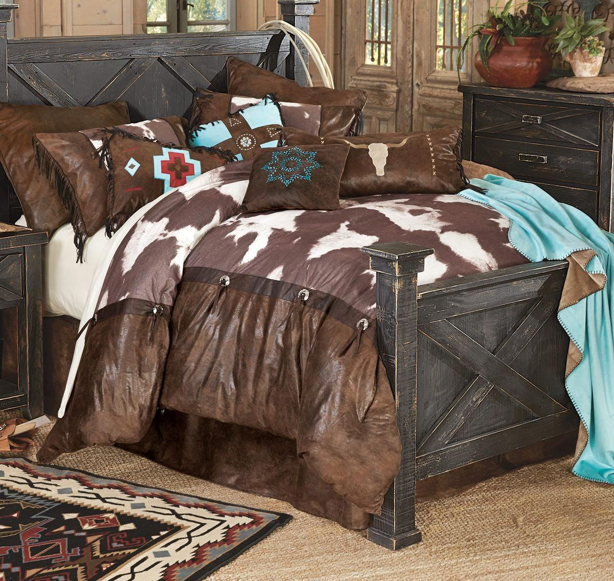 High Plains Cowhide Bed Set King Fashionablebedding Western Bedding Sets Bedding Sets Bed Linens Luxury