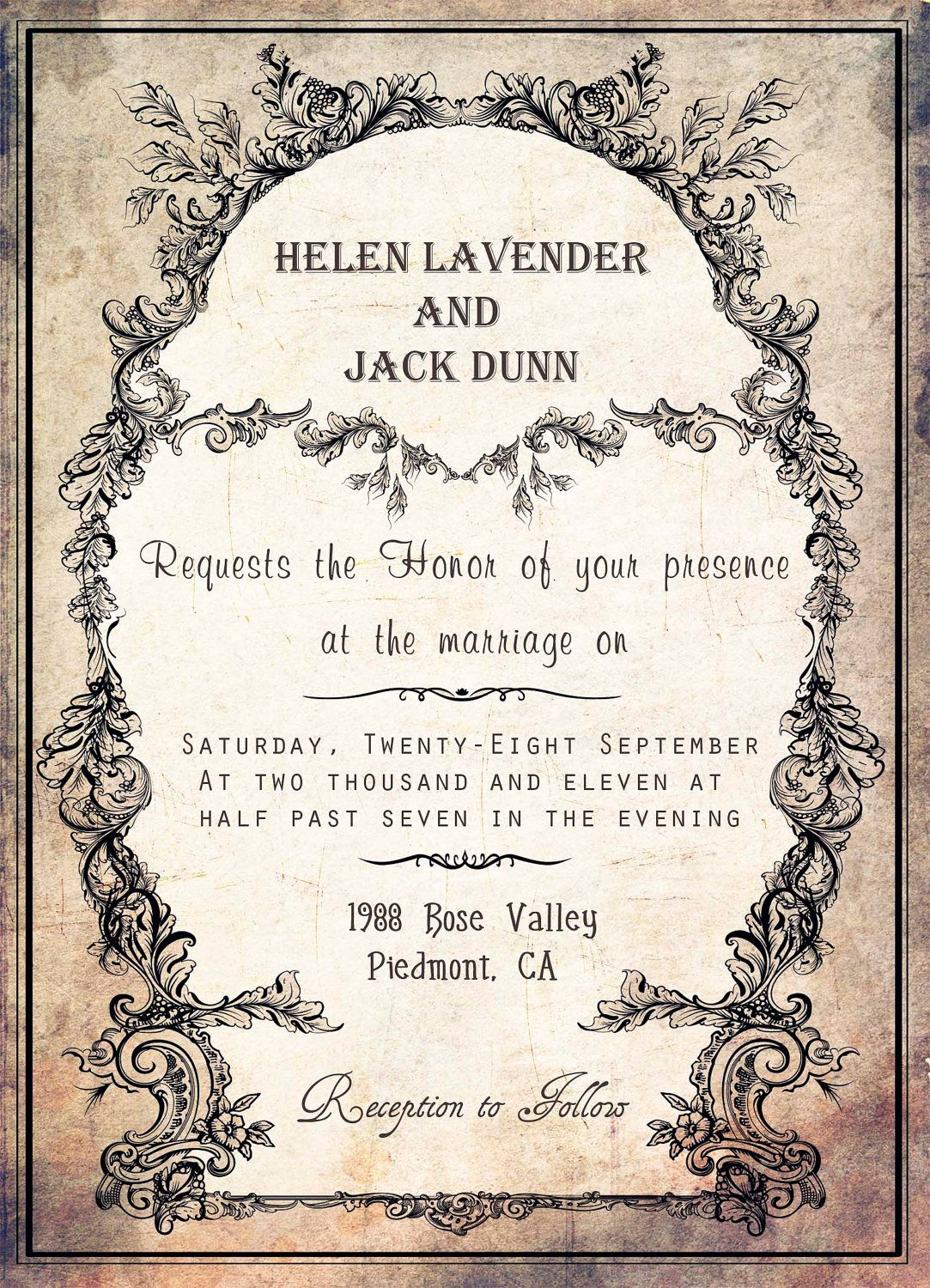 OLD Printable Vintage Wedding Invitation In Moss Green