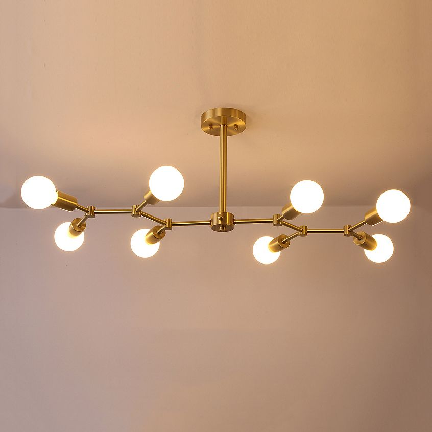 Contemporary Style Branching 8 Light Close To Ceiling Light In Brass Ceiling Lights Contemporary Ceiling Fans Ceiling Fan With Light Close to ceiling light fixtures