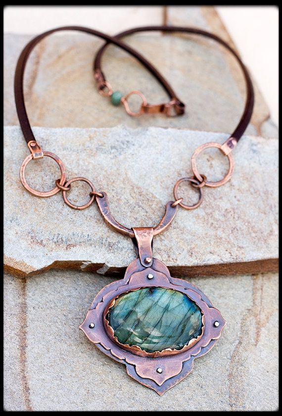 Rustic copper necklace with labradorite: Hand forged statement necklace. Magic stone, labradorite necklace crystal jewelry, unique necklace