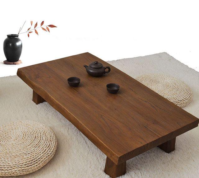 Mesa baja de madera maciza de olmo antiguo acabado for Mesa japonesa tradicional