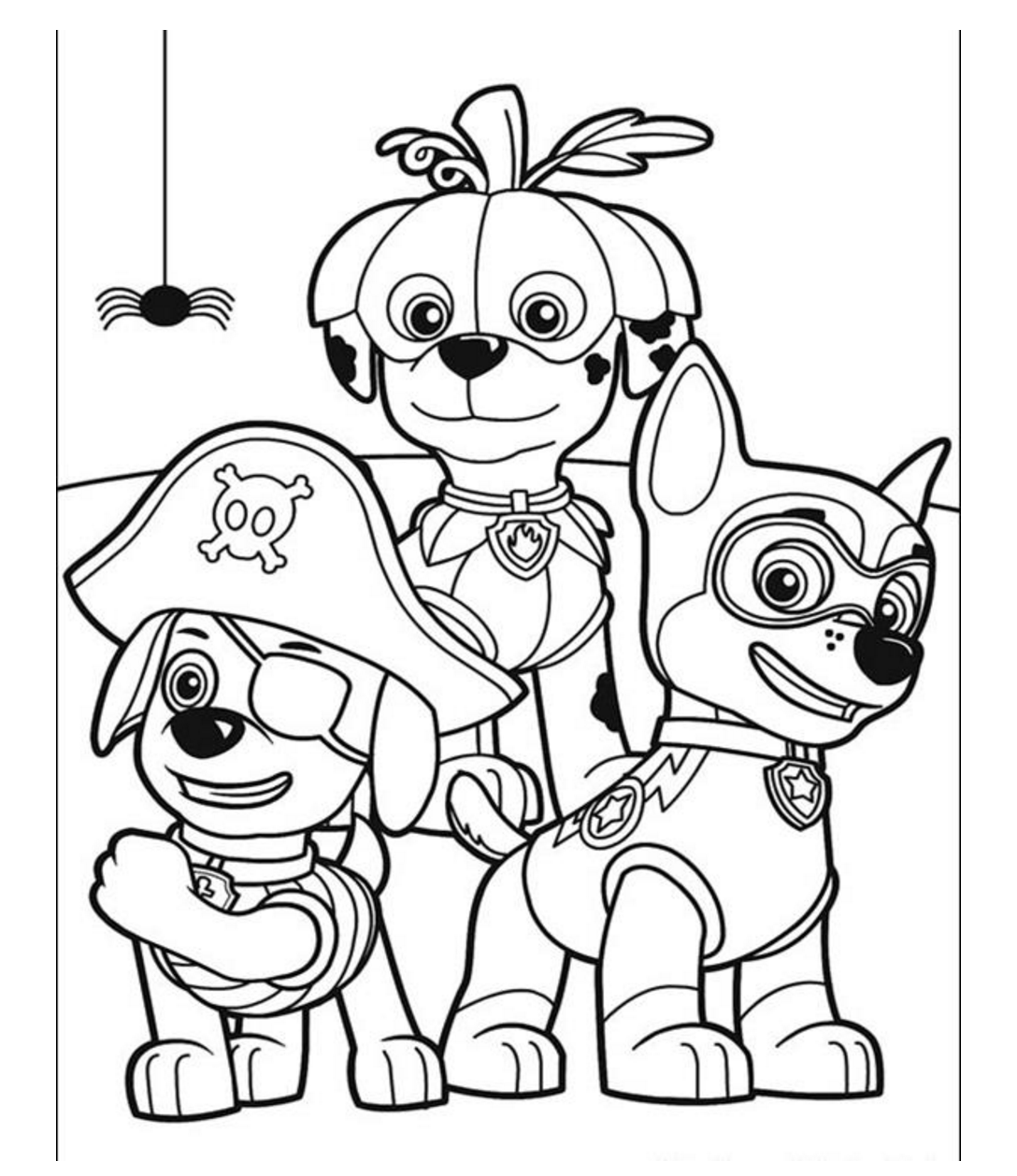 PAW Patrol on Halloween Coloring Pages | prente | Pinterest