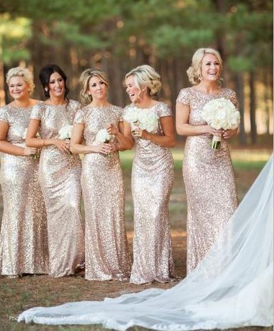 42e4ddd647ef24 Gold Sequin bridesmaid dress,long bridesmaid dress,Short Sleeves bridesmaid  dress,Open Back bridesmaid dress,BD005