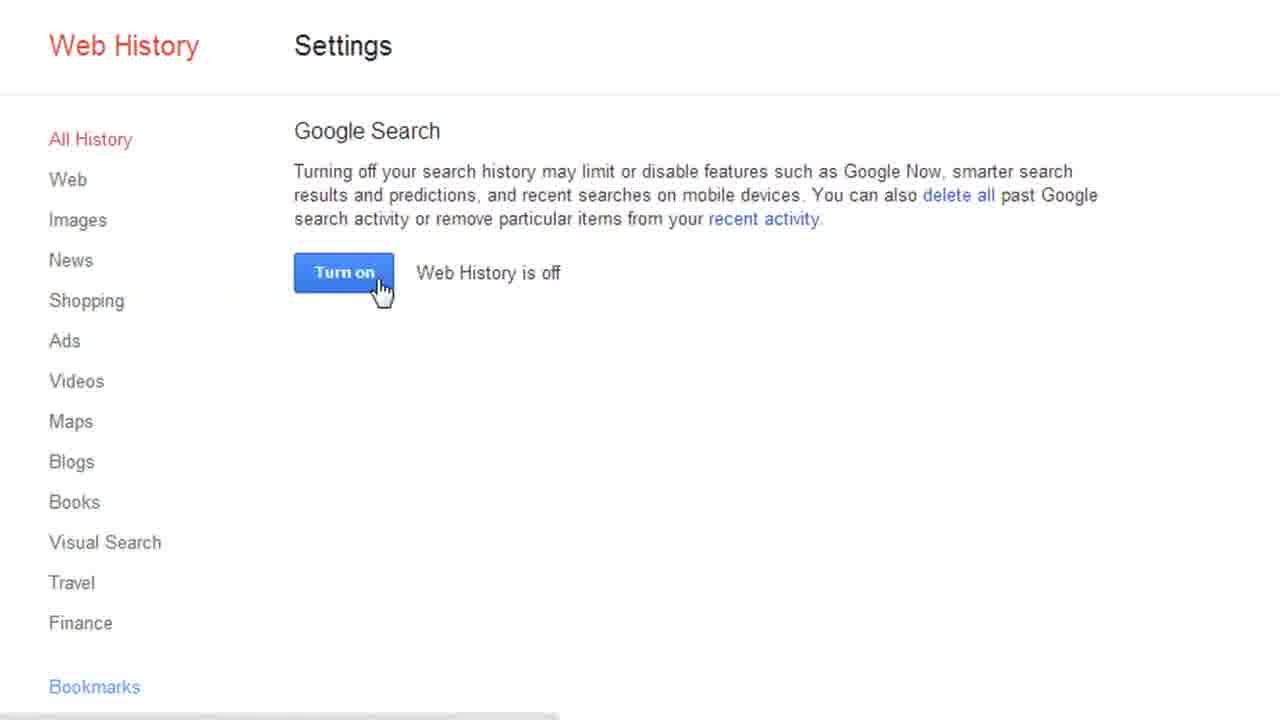Clear Google Search History With Images Web History Google