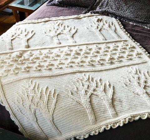 Árvore de árvores Vida e flores em relevo efeito crochet cobertor - Ladies Gallery - vida tricô