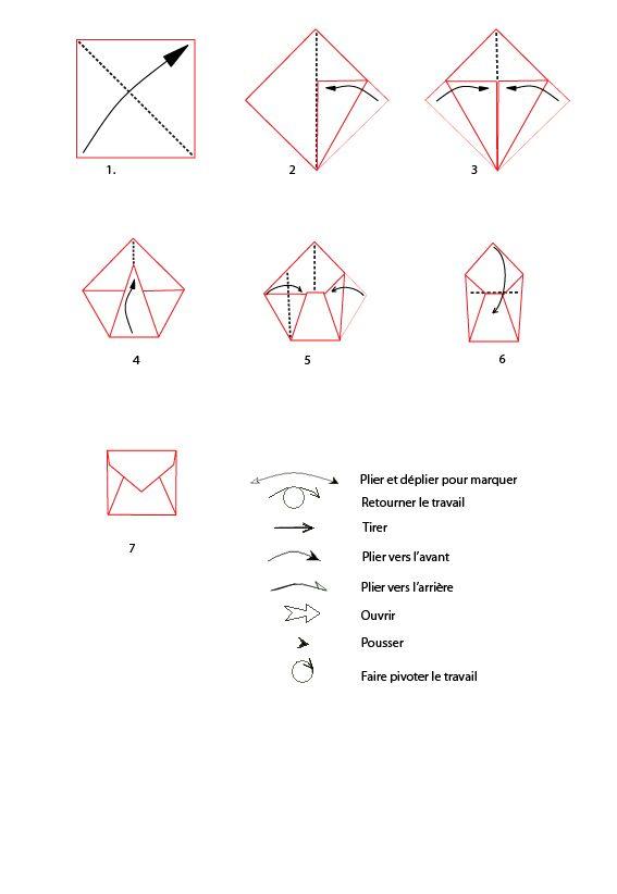croquis origami de l'enveloppe à imprimer | simple, le pliage et
