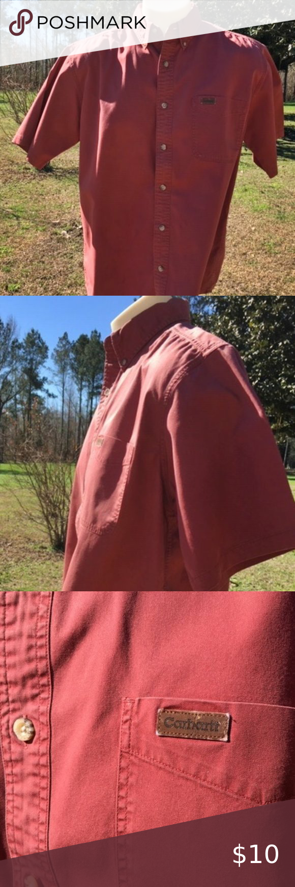 Men's Carhart Button Down Work Shirt Colored Reddish or could call it a Rust Color Pics are pretty spot on though Very Nice Shirt for casual every day or for work No holes No tears No Stains Size Large S/S 100% Cotton Item#0509 Carhartt Shirts Casual Button Down Shirts