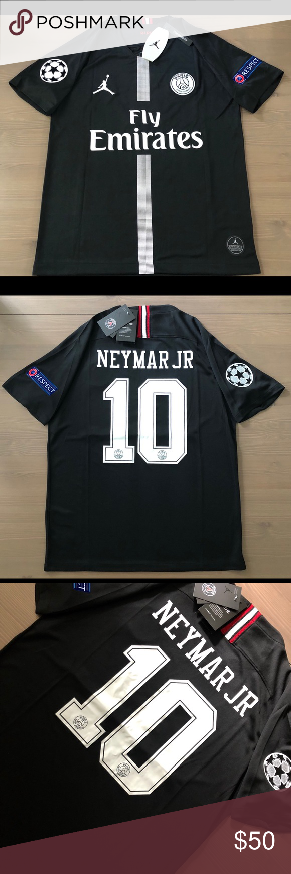 sports shoes e4d3e 0f0a4 PSG Jordan black Neymar Jr. #10 soccer Jersey men PSG Jordan ...