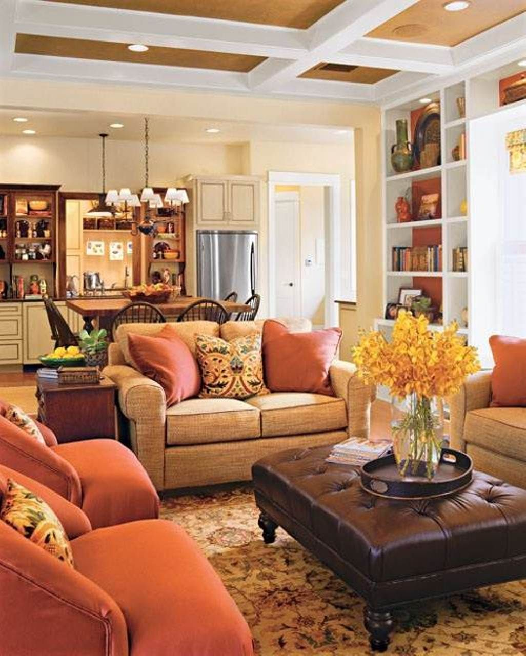 Warm Family Room Colors, And 3 Way Sofa Arrangements For A Big Family Room Images