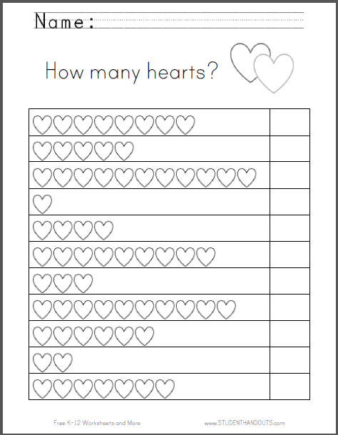 Hearts Counting Worksheet - Great for Valentine\'s Day. Free to print ...