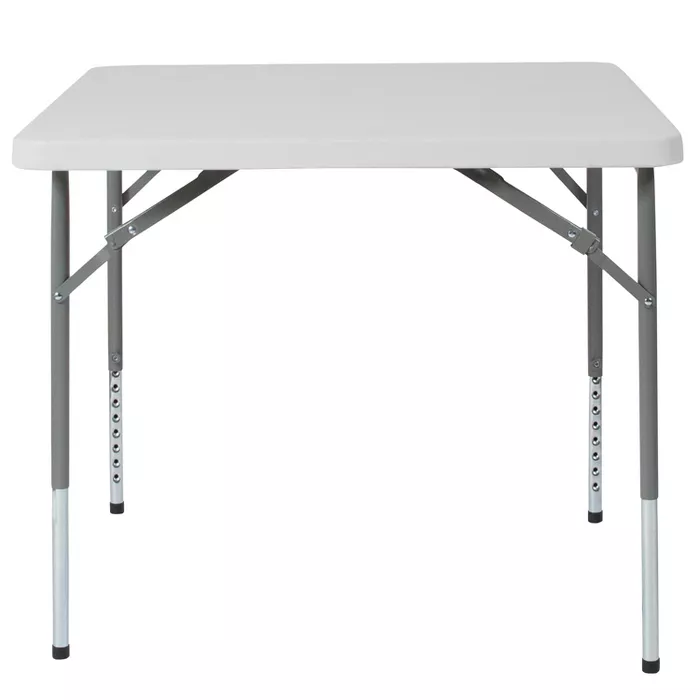 Flash Furniture 2 79 Foot Square Height Adjustable Granite White Plastic Folding Table In 2020 Folding Table Flash Furniture Height Adjustable