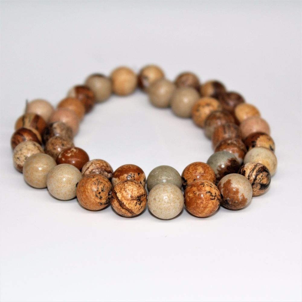 Picture Jasper Gemstone Round Beads For Bracelet Necklace Jewelry Beawork 6-10mm