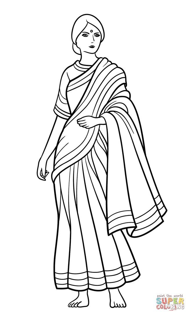 Saree indian girl coloring page saree for Girl indian coloring pages