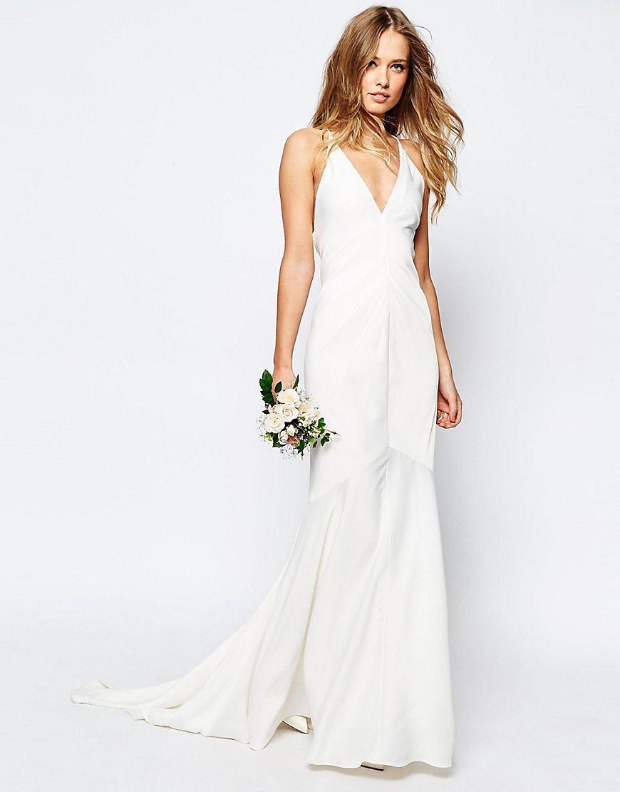 Wedding dress under 500  ASOSBRIDALDeepPlungeStrappyFishtailMaxiDress  the dress