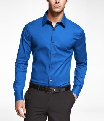 Blue Extra Slim Fit French Cuff Shirt - shirts, flannel, casual ...