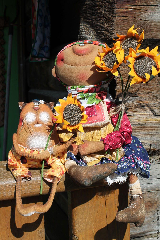 Купить Подсолнухи - комбинированный, текстильная кукла, ароматизированная кукла, интерьерная кукла, деревенский стиль, котик