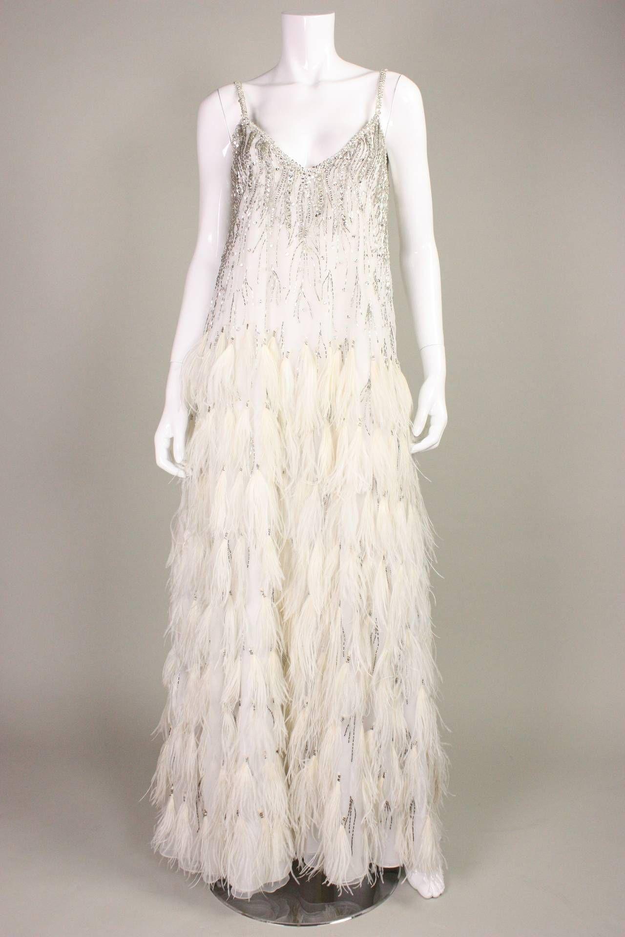 7c786b8b1b82 (pic #1, dress) Vintage Ruben Panis Feathered Chiffon Gown & Coat ~*~