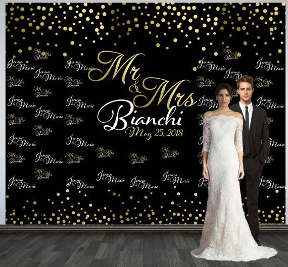 Wedding Photo Backdrop Custom Personalized Step And Repeat Black Gold Confetti Booth