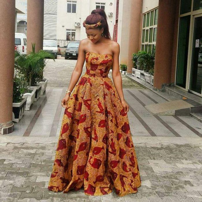 ▷ 1001 + Ideen für afrikanische Kleidung - von der Tradition zu der heutigen Mode #afrikanischekleidung offizielle traditionelle afrikanische kleidung, die heute ganz modern erscheint, dunkelgelbes kleid mit roten motiven schafen das gefühl für eine afrikanische königin #afrikanischekleidung