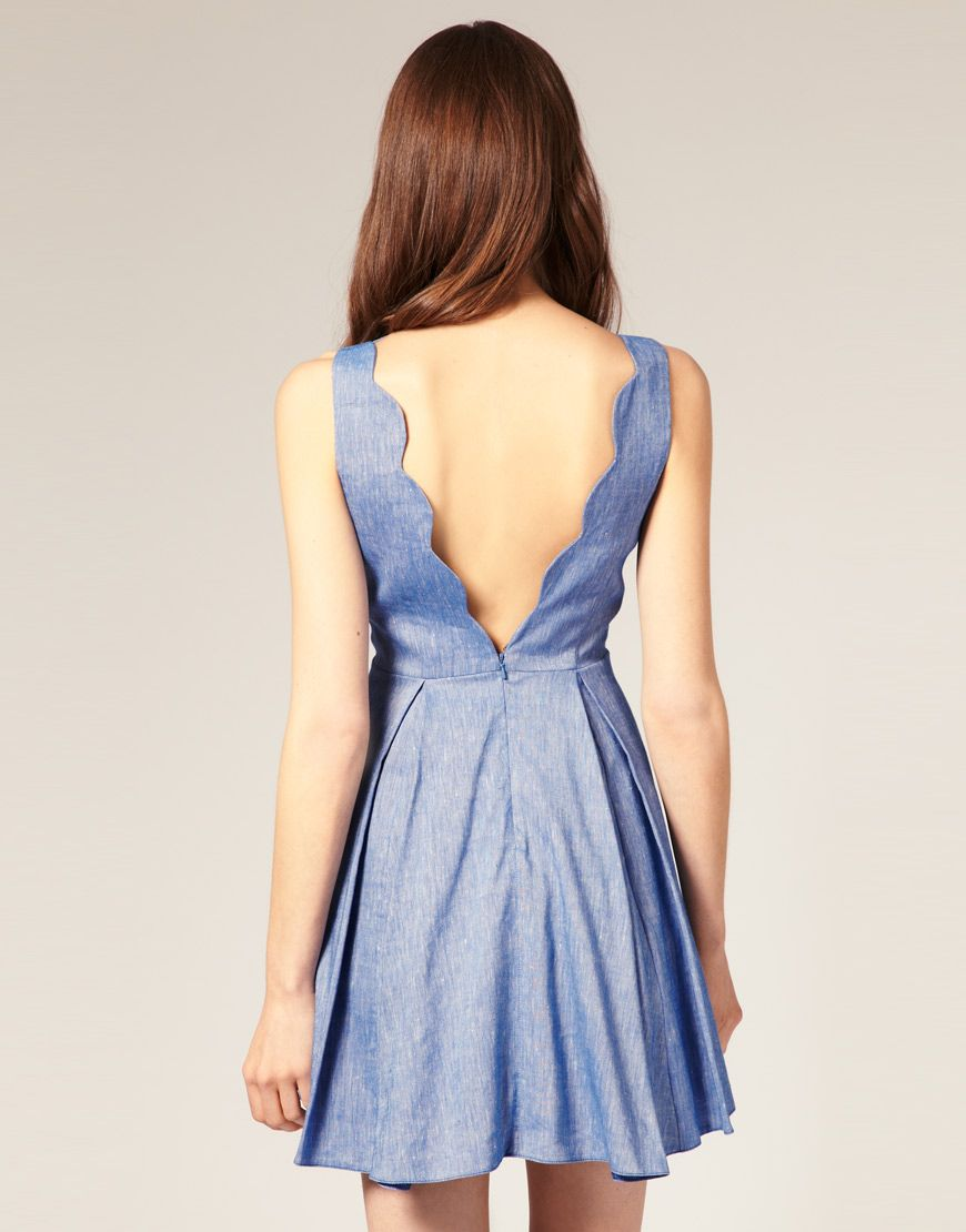 ASOS Flare Dress with Stretch Linen Scallopped #scallops