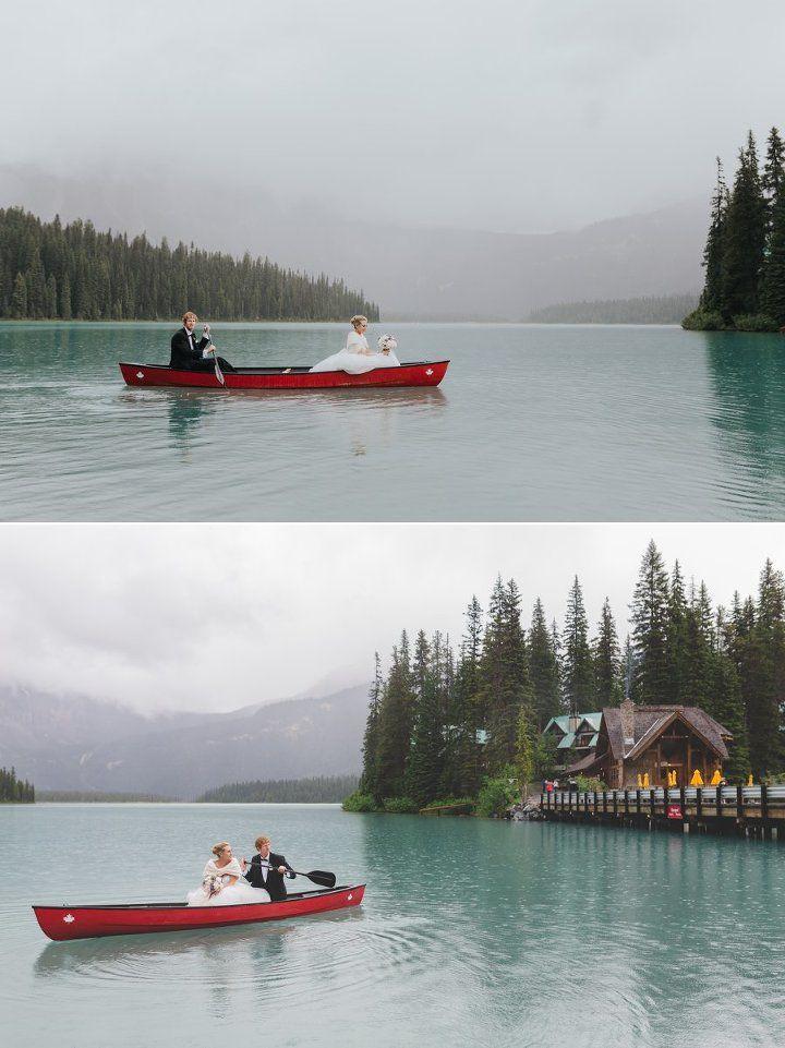 Emerald Lake Wedding red canoe