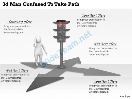3D Man Confused to Take Path Ppt Graphics Icons Powerpoint - 3d powerpoint template