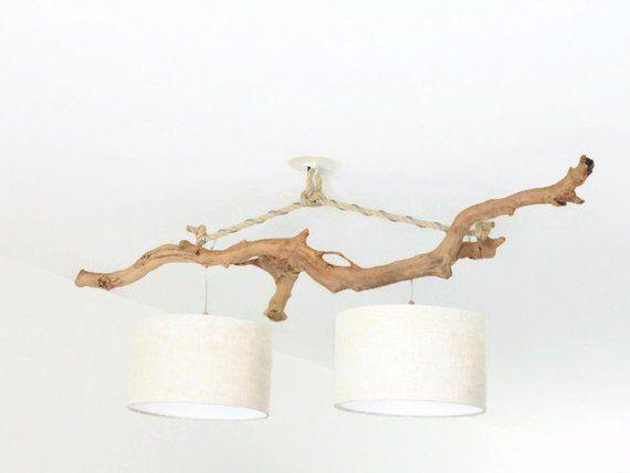 lustre plafonnier bois flott abat jour lin 30cm cr ation. Black Bedroom Furniture Sets. Home Design Ideas