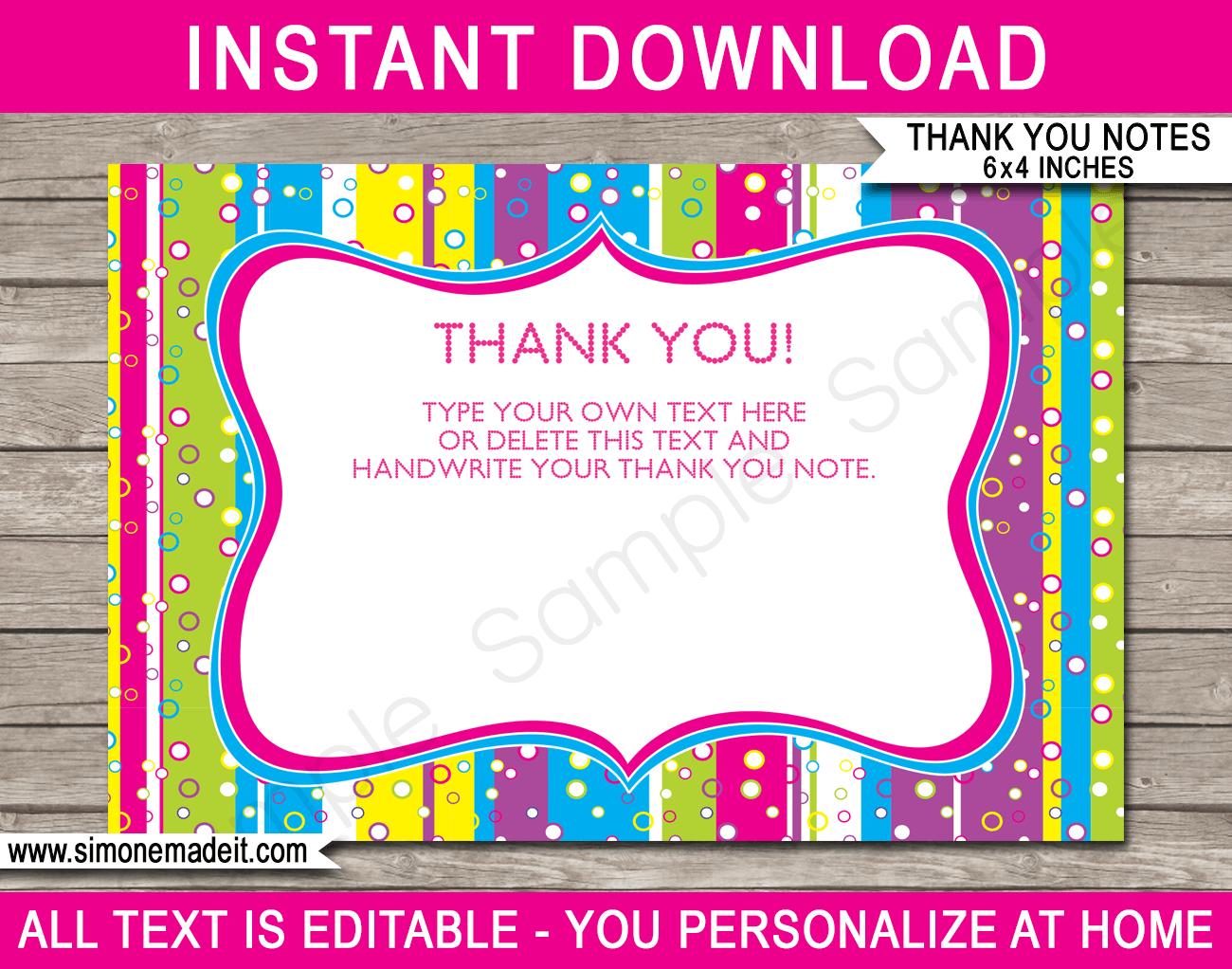 Colorful Party Thank You Cards template  Thank you card template