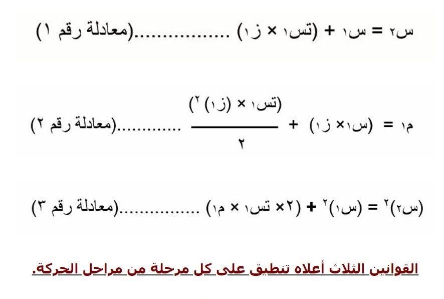 مقدمة فى علم الحركة 3 Math Math Equations