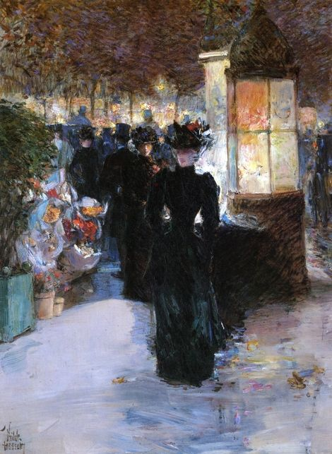 Frederick Childe Hassam, Paris Nocturne on ArtStack #frederick-childe-hassam-1859-1935 #art