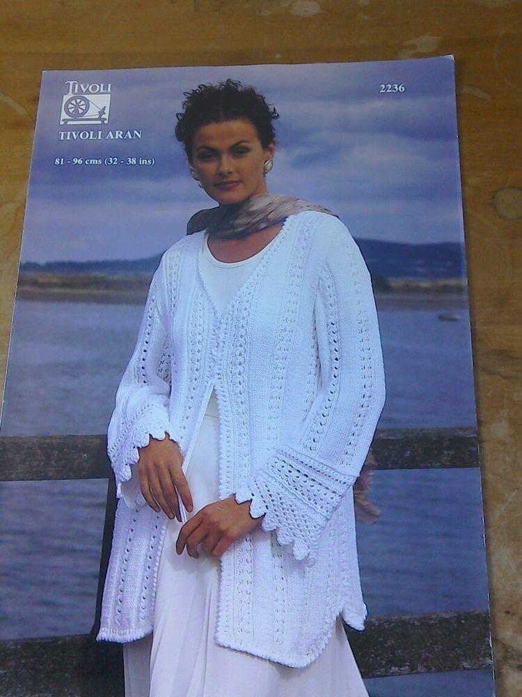 Original Vintage 1990s Tivoli Knitting Pattern Ladys Lace Cardigan