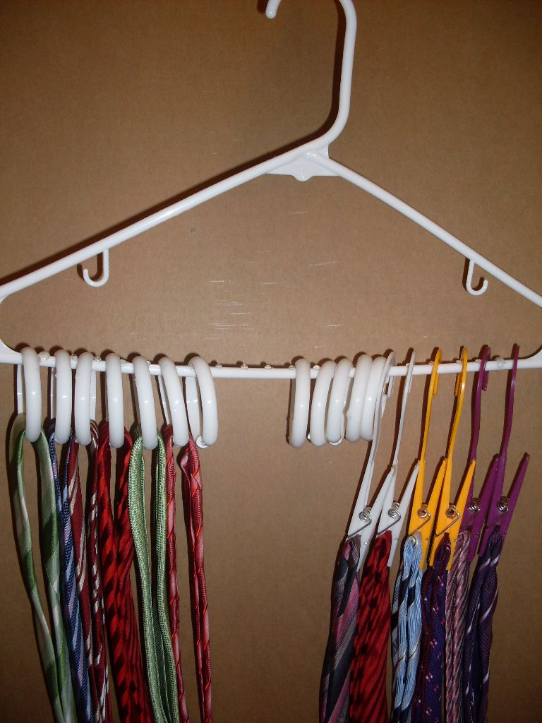 DIY TIE RACK. Use shower curtain rings or clips from the dollar ...
