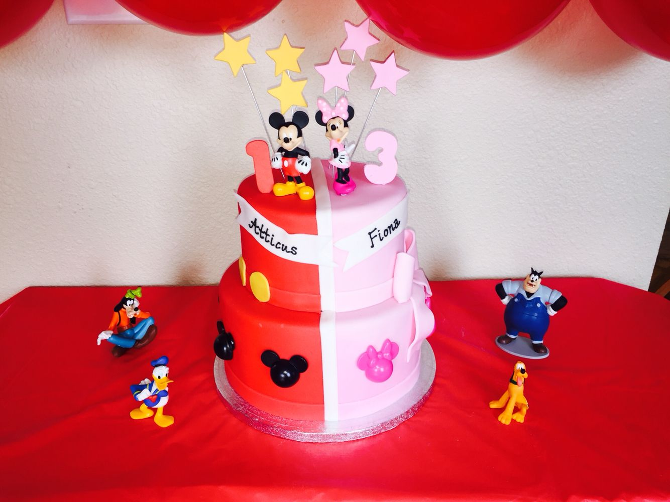 mickey and minnie mouse birthday cake for siblings Kids Birthday