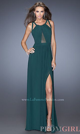 Floor Length Sleeveless Dress with Cut Out Back by La Femme at PromGirl.com