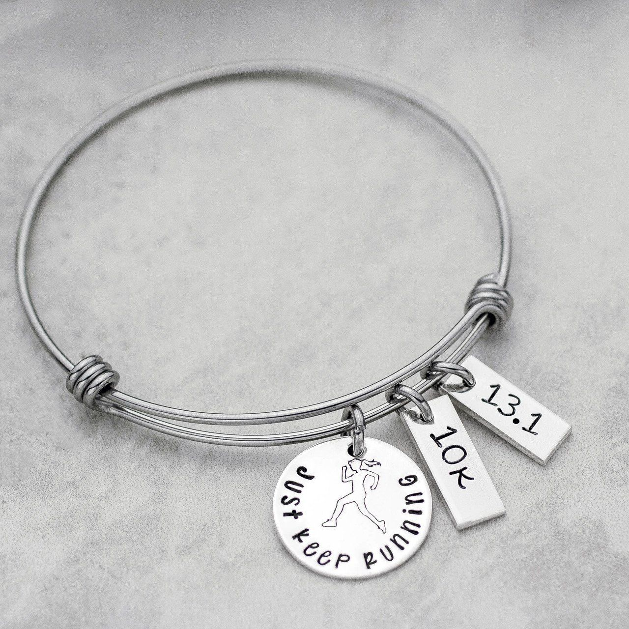 600c2f9217a66d Just Keep Running Personalized Bangle Charm Bracelet // Jessie Girl #Jewelry  Bangle Bracelets With
