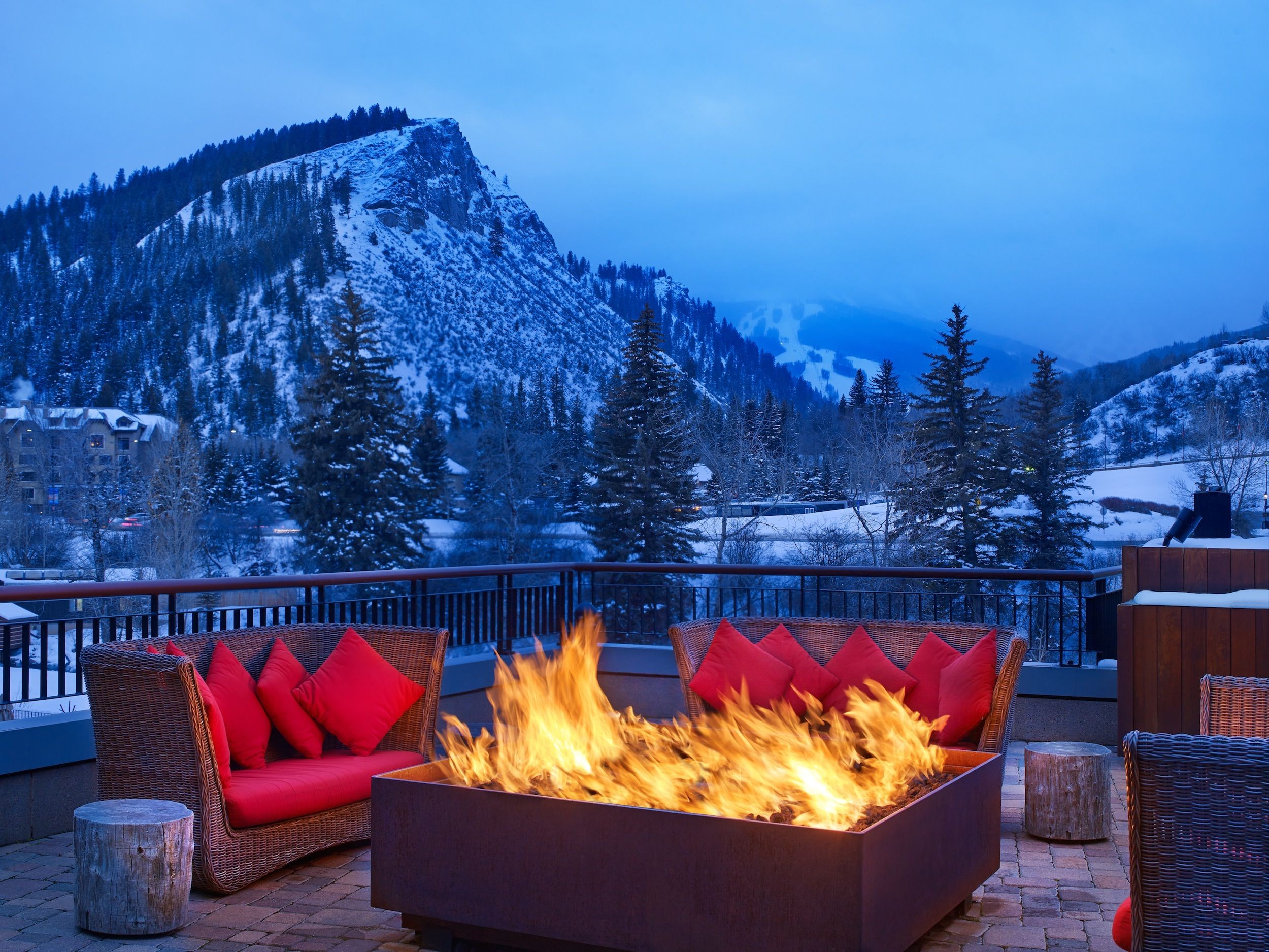 Elegant Mayau0027s Patio Fire Pit Is The Perfect Spot To Enjoy Apres Ski.