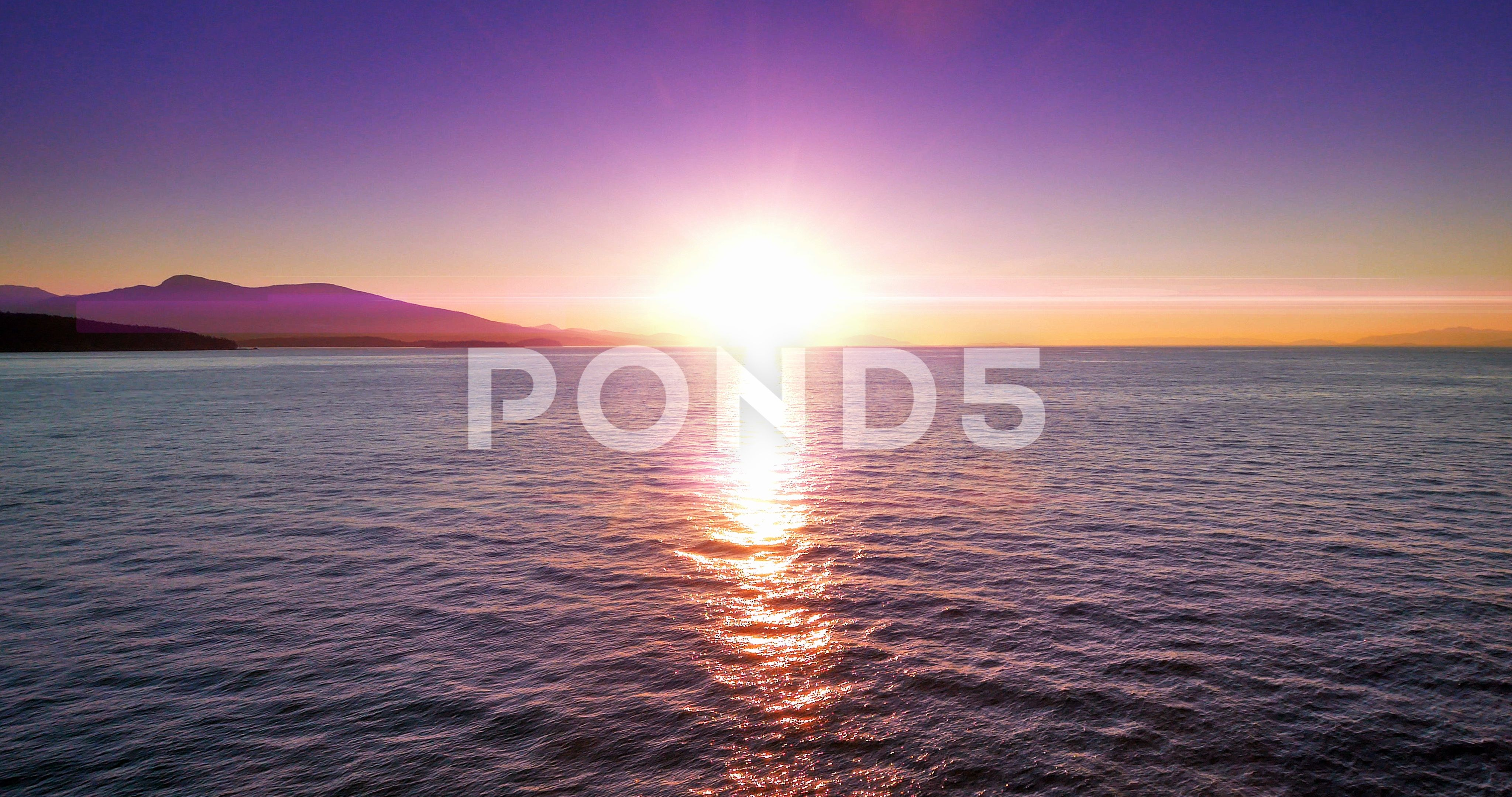 4k Ocean Landscape Scarlet Purple And Pink Orange Sunset Horizon Sunlight Flare Stock Footage Purple Pink Orange Ocean Sunset Landscape
