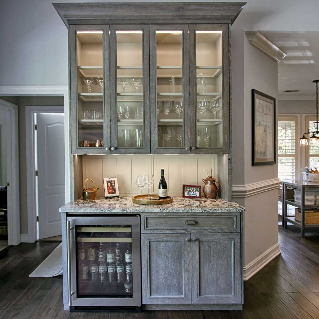 Cerused White Oak cabinets Wetbar Glass cabinet doors