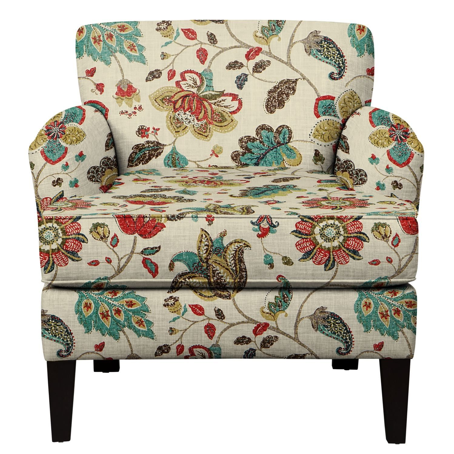 Overstuffed Living Room Chairs: Marcus Chair W/ Spring Mix Poppy Fabric